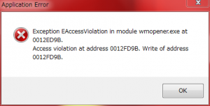 Exception EAccessViolation in module wmopener.exe at 0012ED9B. Access violation at address 0012FD9B. Write of address 0012FD9B.